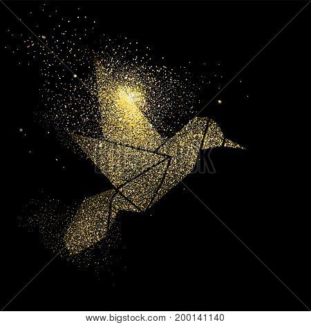 Bird Gold Glitter Art Concept Symbol Illustration