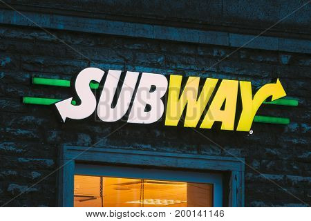 Tallinn, Estonia - December 3, 2016: Logo Of Subway Is A Fast Food Restaurant Was Founded In Bridgeport, Connecticut, U.S.