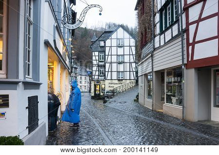 MONSCHAU GERMANY - FEBRUARY 20 2016: Half-timbered houses of Monschau a small resort town in the Eifel region of western Germany
