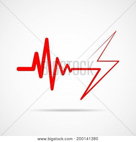 Red heartbeat sign with lightning. Vector illustration. Heartbeat icon in flat outline style.