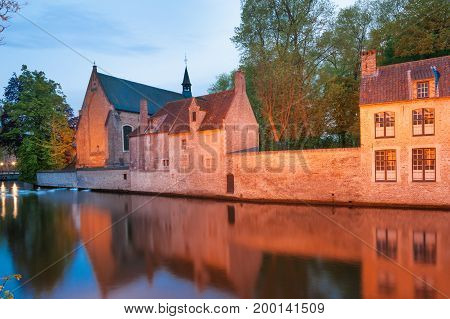 Lake of Love and Benedectine monastery in historic Bruges, Belgium