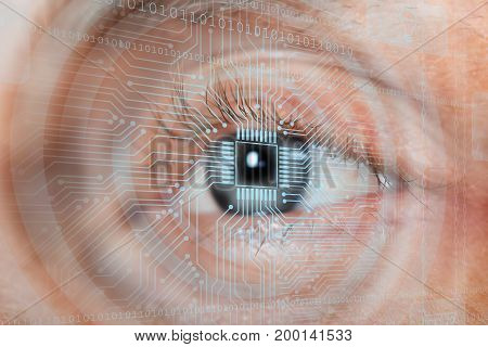 Eye Viewing Digital Information Represented By One And Zero