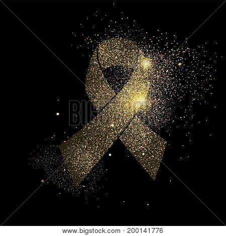 Gold Glitter Cancer Ribbon Art Concept Symbol