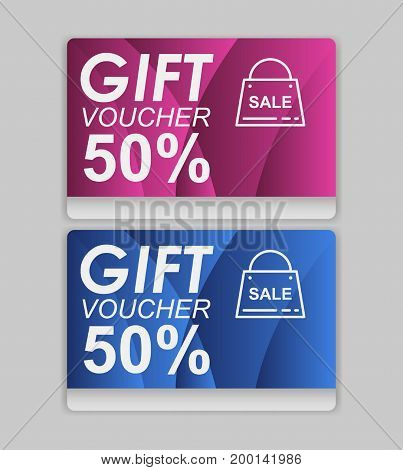 Gift voucher template. Discount voucher template with clean and modern design and place for your business related photos. Vector illustration. Sale voucher