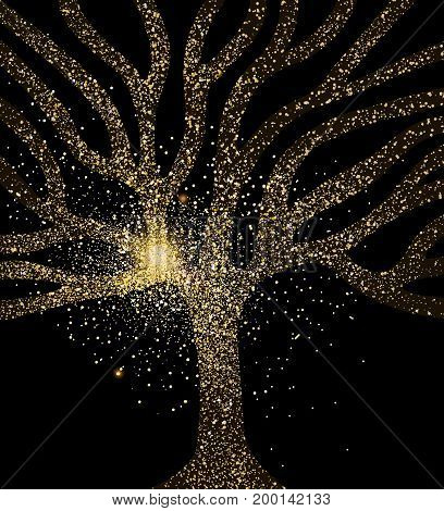 Tree Gold Glitter Art Concept Symbol Illustration