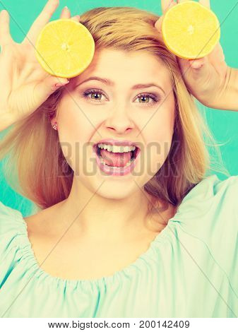 Girl Holding Lemon Citrus Fruit