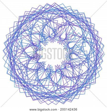 Round geometric shape with curly lines as flower, star, snowflake. Blue circle border frame for prints, designs, wrapping paper, certificates, Christmas garlands, decorations.