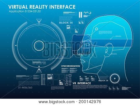 set of HUD elements for virtual reality. Futuristic user interface. Abstract virtual graphic touch user interface for VR