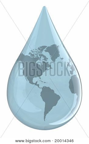 Water Droplet With World Map