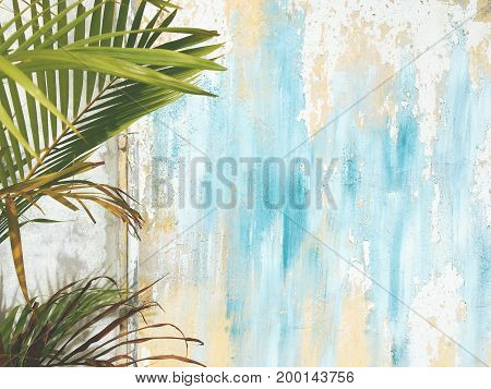 Old Cracked Antique Vintage Historic House Wall and Palm Tree Leaf Branch. Tropical Exotic Thai Summer Tourist Travel Blue and Yellow Paint Background. Thailand