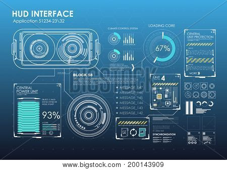 HUD portable virtual reality glasses. Futuristic user interface. Abstract virtual graphic touch user interface for VR. UI hud infographic