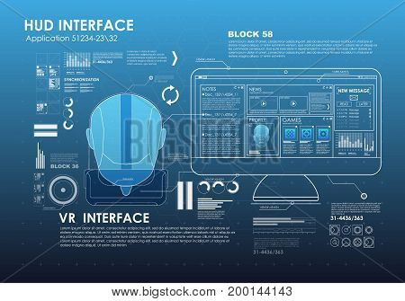set of HUD elements for virtual reality. VR glasses. Futuristic user interface. Abstract virtual graphic touch user interface