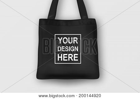Realistic vector black empty textile tote bag. Closeup isolated on white background. Design template for branding, mockup. EPS10 illustration.