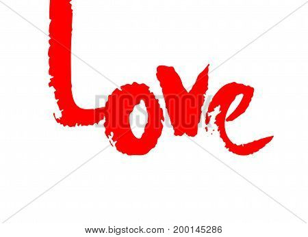 Love ink calligraphy vector. Phrase for Valentine's day. Ink illustration isolated on white background. Inspiration graphic design typography element. Rough simple vector sign.
