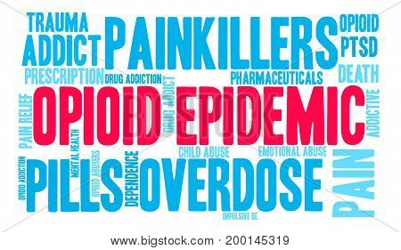 Opioid Epidemic word cloud on a white background. poster