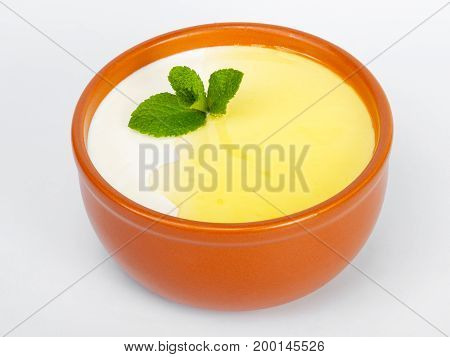 Soup. Delicious Gourmet Food On The Table. Gourmet Cuisine In White Dish. Creative Restaurant Concep