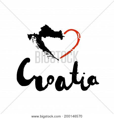 Grunge hand lettering of the European country - Croatia - with heart for postcard, travel poster, historic maps and promotional materials of the travel agency, vector illustration. Love Croatia banner