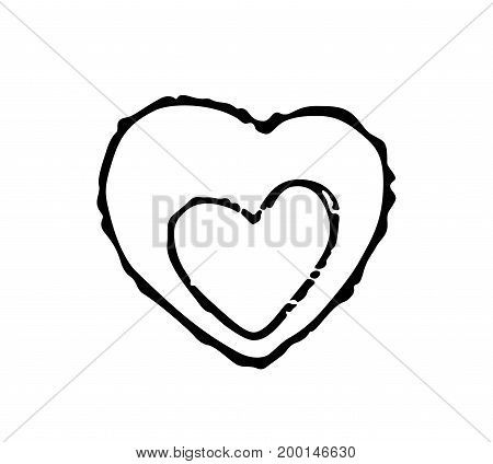 Vector sign of a heart isolated on white background. Heart in heart, sign for Mother's day or wedding