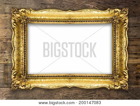 Old Picture Frame on wooden baclground wall white empty design