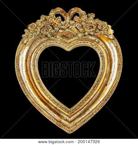 Heart Picture Frame isolated on black background graphic design element