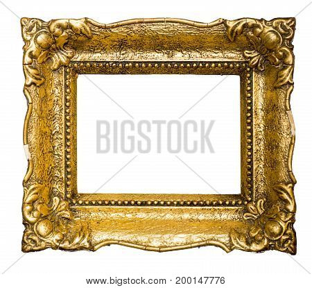 Big old gold picture frame isolated on white