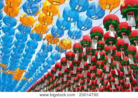 Colorful Paper Lanterns In Buddhist Temple