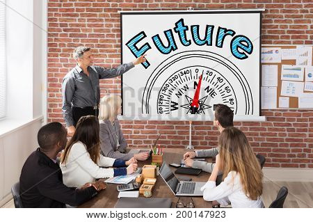 Man Giving Future And Compass Guidance Concept Presentation