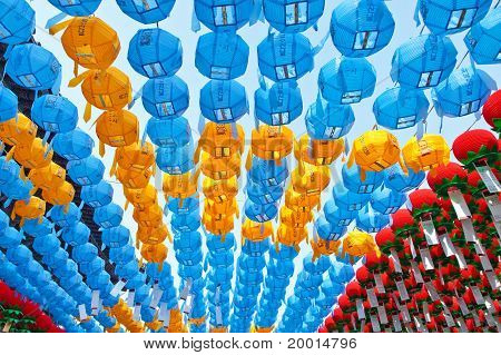Colorful Paper Lanterns In Buddhist Temple During Lotus Festival