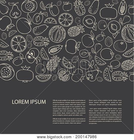 Poster template with hand drawn fruit. Unique line style vector illustration. Organic product for healthy food concept place for text. Horizontal composition