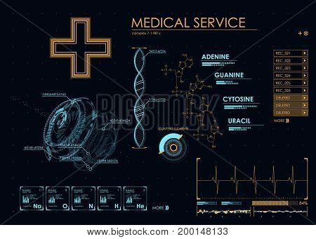 Abstract future medical, concept vector futuristic blue virtual graphic touch user interface HUD. Infographic elements. futuristic user interface HUD