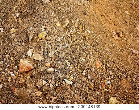 Authentic Background Of Heaps Of Sand And Stones. As Background For Creative Art Design. Authentic T