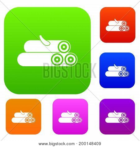 Wooden logs set icon in different colors isolated vector illustration. Premium collection
