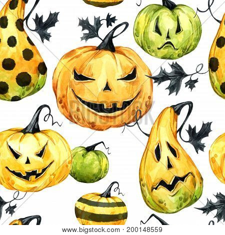 Watercolor seamless pattern, pumpkins with leafes. Halloween holiday illustration. Funny food. Magic, symbol of horror. Baby background. Can be use in holidays design, posters, invitations, cards