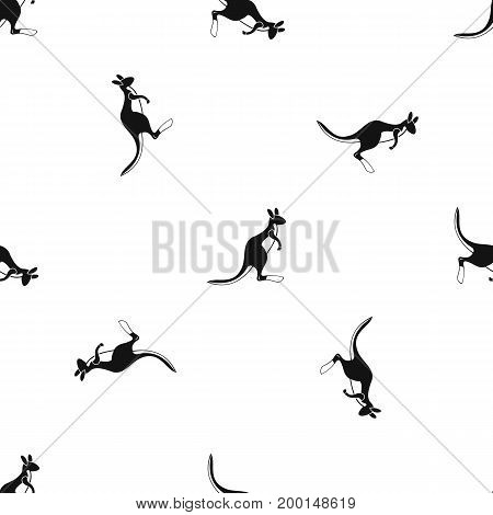 Kangaroo pattern repeat seamless in black color for any design. Vector geometric illustration