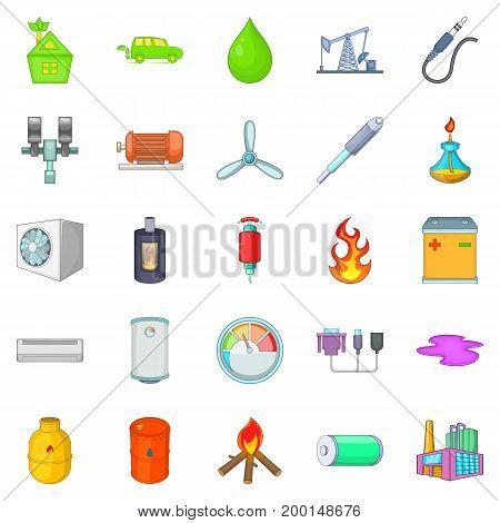 Nonrenewable energy icons set. Cartoon set of 25 nonrenewable energy vector icons for web isolated on white background