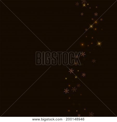 Sparse Starry Snow. Right Wave On Black Background. Vector Illustration.
