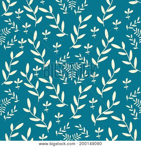 Vector seamless pattern with hand drawn floral elements on blue background. Can be used for wallpaper poster design wrapping paper surface texture web backgrounds print on textile and covers