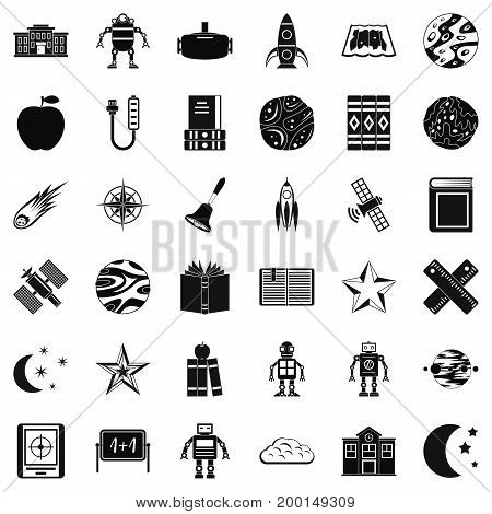 Astronomy book icons set. Simple style of 36 astronomy book vector icons for web isolated on white background