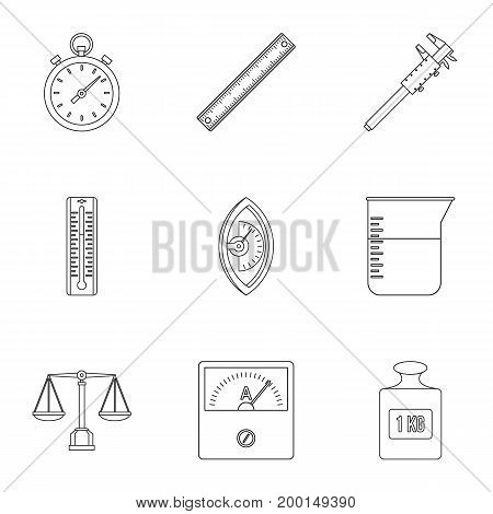 Dimension icon set. Outline style set of 9 dimension vector icons for web isolated on white background