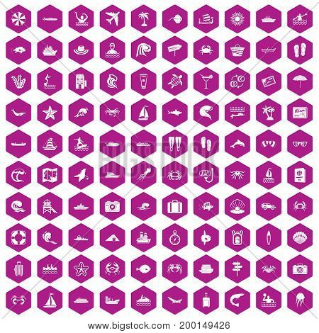 100 sea life icons set in violet hexagon isolated vector illustration