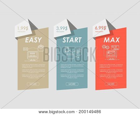 Set web tariffs banner. interface for the site. ui ux vector banner for web app. Pastel pricing table, banner, order, box, button, list and bullet with plan for website in flat design