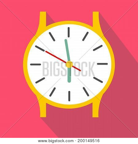 Clock icon. Flat design illustration of clock vector icon for web. clock on a gently red background. Time with minutes illustration