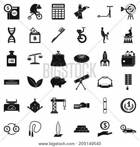 Crane balance icons set. Simple style of 36 crane balance vector icons for web isolated on white background