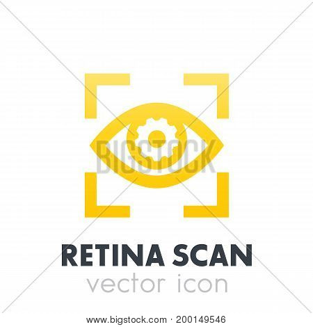 eye with gear icon over white, retina scan, biometric recognition