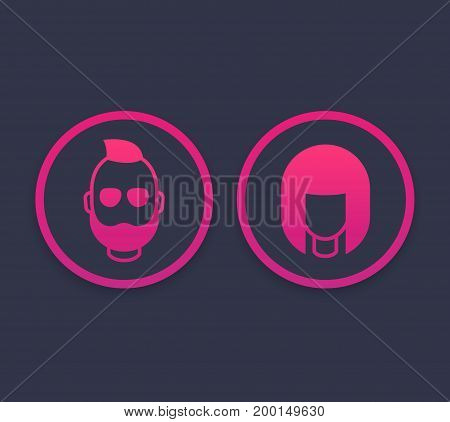 Avatars icons with girl and bearded man, vector illustration, eps 10 file, easy to edit