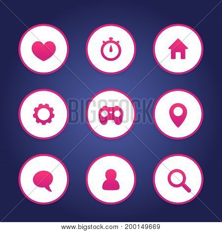 Basic web icons set, favourite, contact us, profile, user, chat, message, settings, login, home, search pictograms