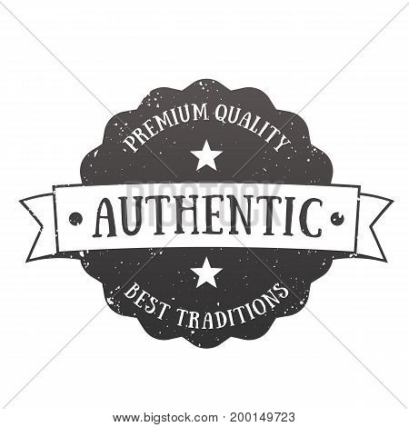 Authentic vintage emblem, vector badge isolated over white