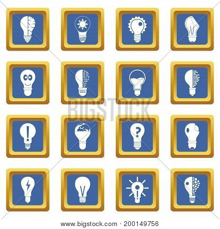 Lamp logo icons set in blue color isolated vector illustration for web and any design