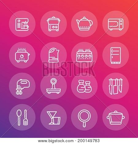 kitchen line icons set, cooking related objects, utensils, tableware, tools, flatware, cookware, pan, kettle, knives