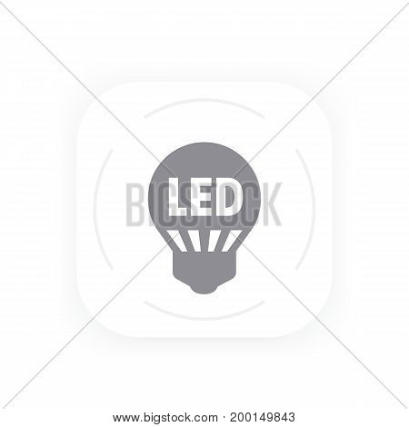 led light bulb icon, simple gray pictogram, eps 10 file, easy to edit